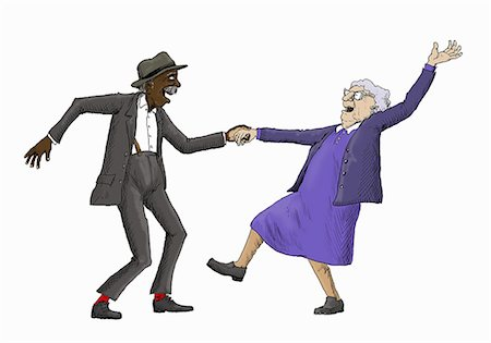 852-09075311 © Ikon Images / Masterfile Model Release: No Property Release: No Elderly couple having fun jive dancing